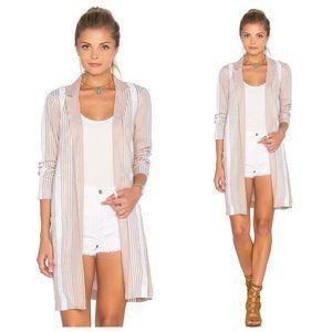 BCBGeneration Tan Stripe Linen Long Blazer Jacket